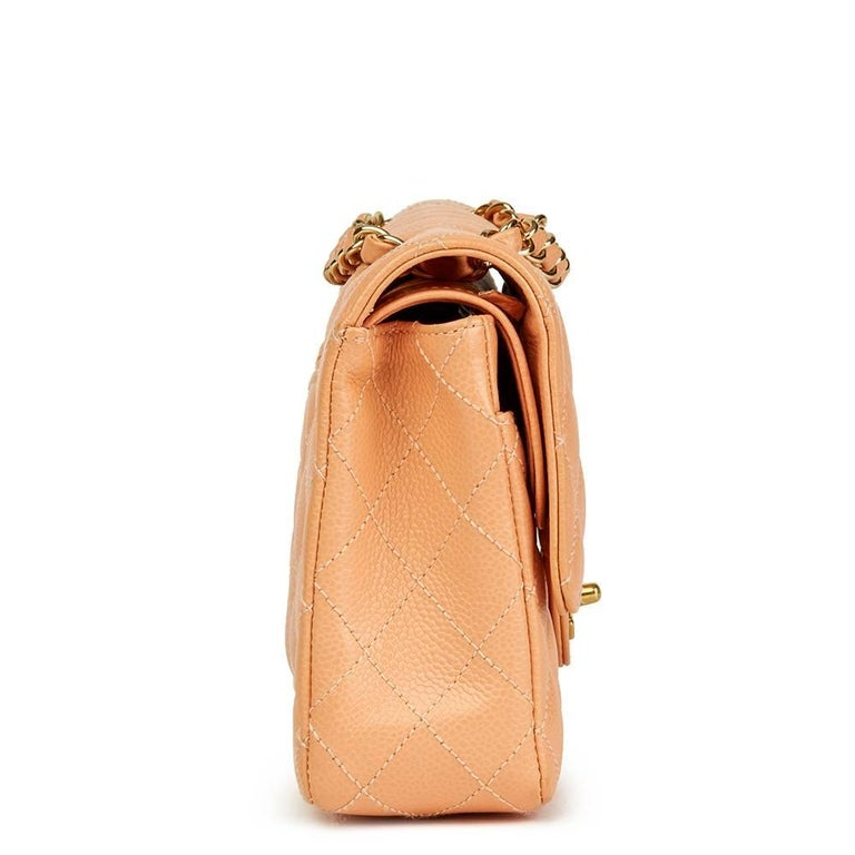 Orange 2000s Chanel Peach Quilted Caviar Leather Medium Classic Double Flap Bag For Sale