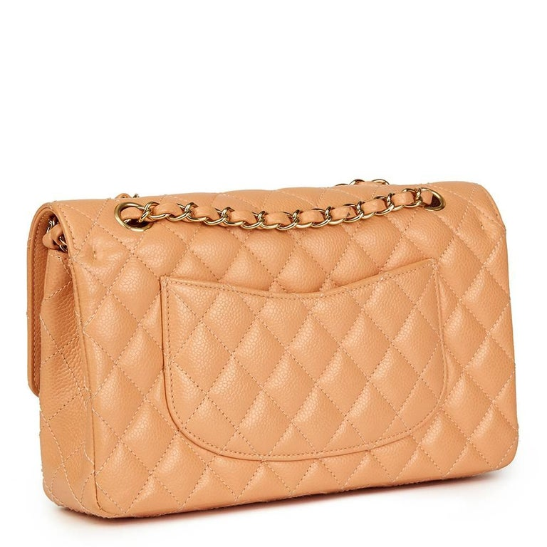 2000s Chanel Peach Quilted Caviar Leather Medium Classic Double Flap Bag In Excellent Condition For Sale In Bishop's Stortford, Hertfordshire
