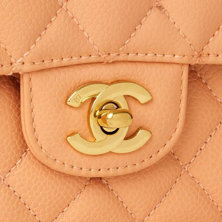 2000s Chanel Peach Quilted Caviar Leather Medium Classic Double Flap Bag For Sale 1