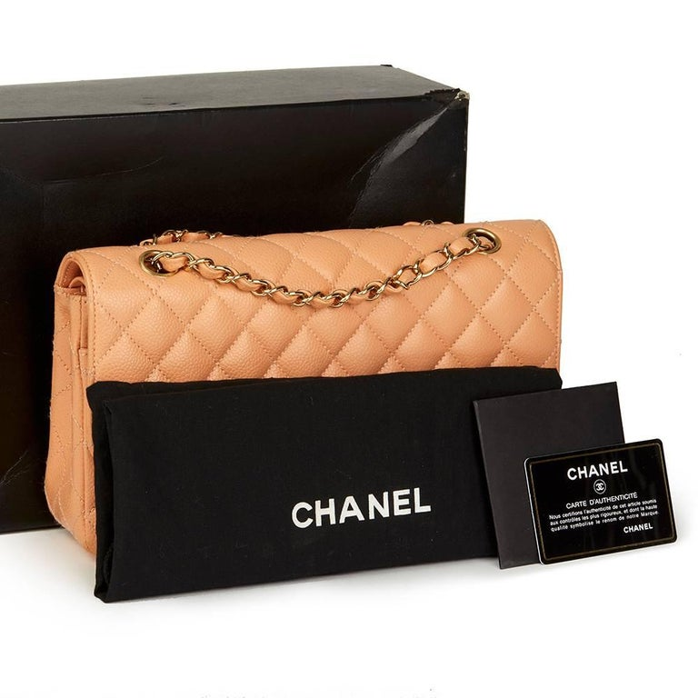 2000s Chanel Peach Quilted Caviar Leather Medium Classic Double Flap Bag For Sale 5
