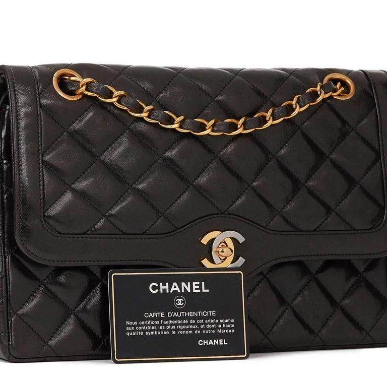 6b0a0653c25c 1995 Chanel Black Quilted Lambskin Vintage Medium Paris Limited Double Flap  Bag For Sale 6