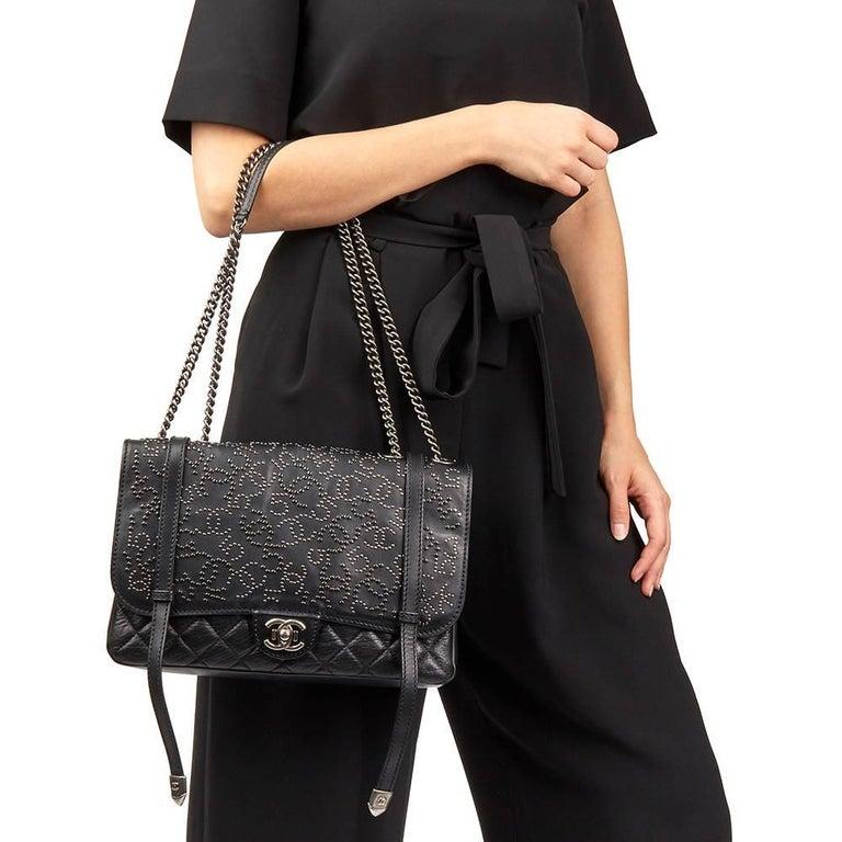 df9db370064c 2014 Chanel Black Studded Calfskin Leather Paris-Dallas Studded Buckle Flap  Bag For Sale 7