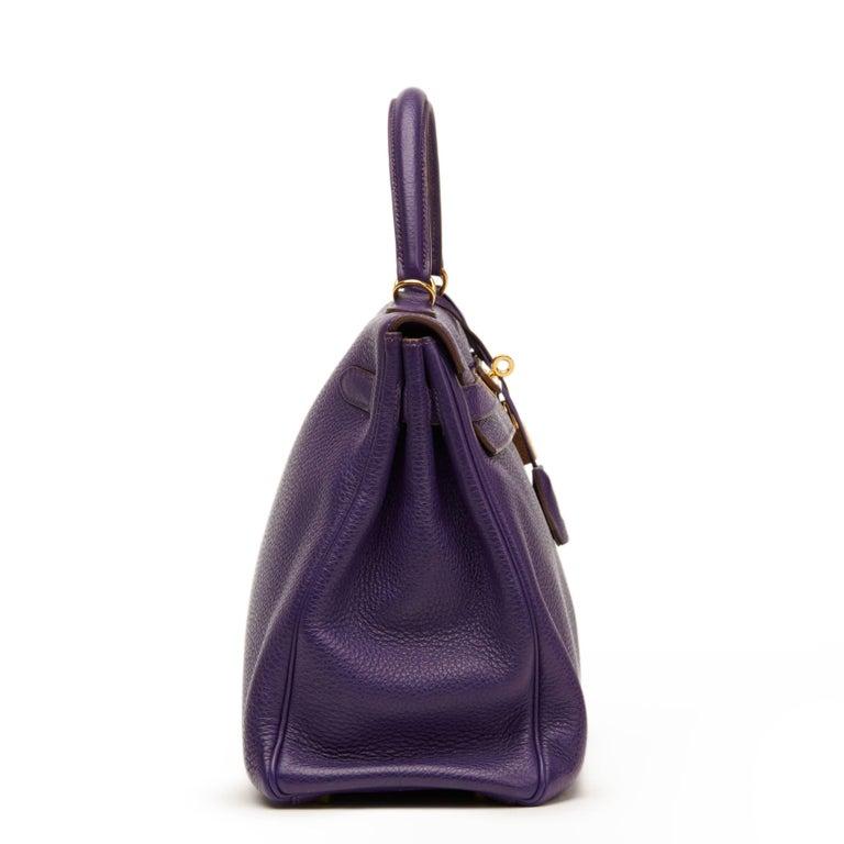 Black 2010 Hermes Violet Togo Leather Kelly 35cm Retourne For Sale