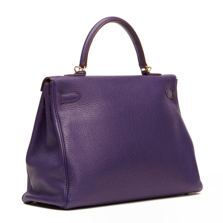 2010 Hermes Violet Togo Leather Kelly 35cm Retourne In Excellent Condition For Sale In Bishop's Stortford, Hertfordshire