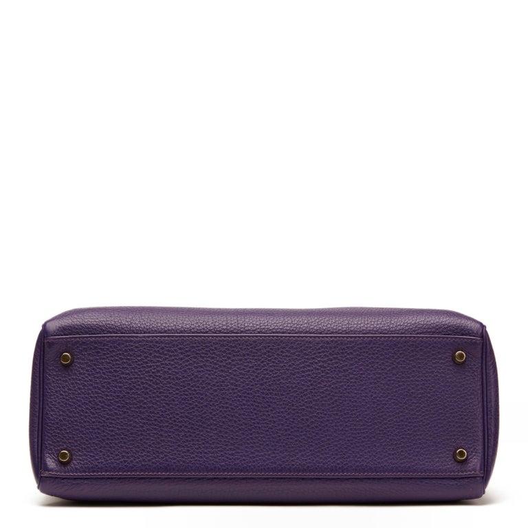 Women's 2010 Hermes Violet Togo Leather Kelly 35cm Retourne For Sale