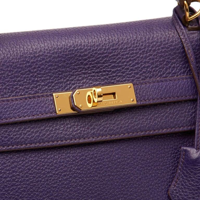 2010 Hermes Violet Togo Leather Kelly 35cm Retourne For Sale 1