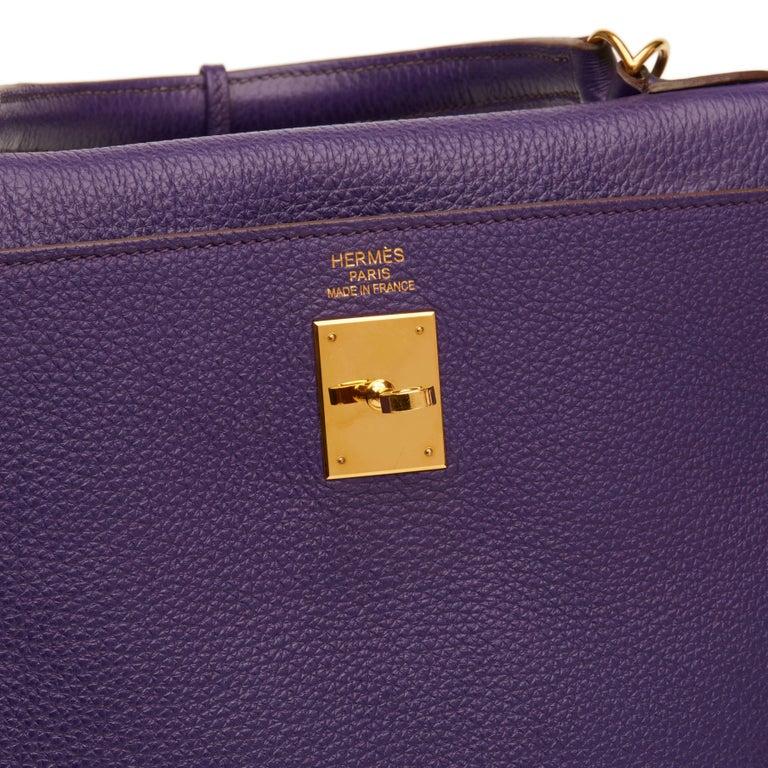 2010 Hermes Violet Togo Leather Kelly 35cm Retourne For Sale 4