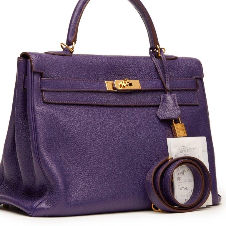 2010 Hermes Violet Togo Leather Kelly 35cm Retourne For Sale 5