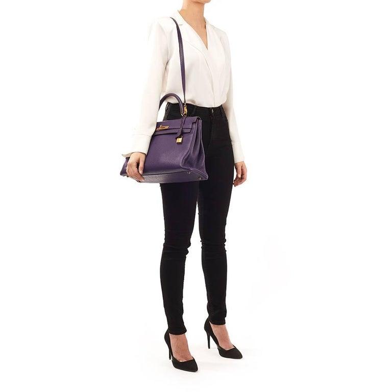 2010 Hermes Violet Togo Leather Kelly 35cm Retourne For Sale 6