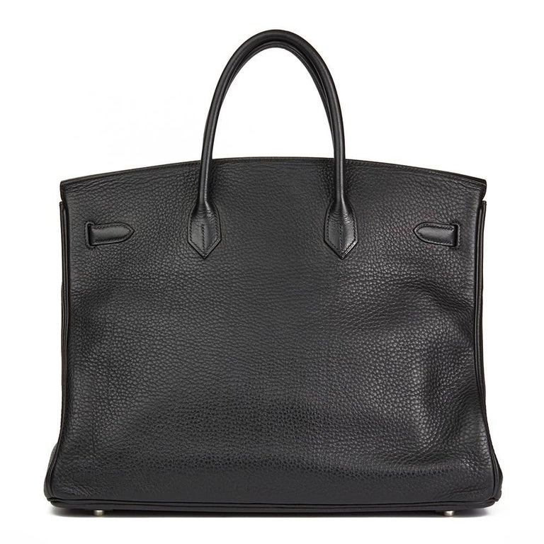 Women's 2003 Hermes Black Clemence Leather Birkin 40cm For Sale
