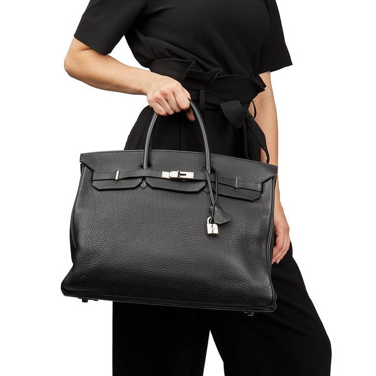 2003 Hermes Black Clemence Leather Birkin 40cm For Sale 7