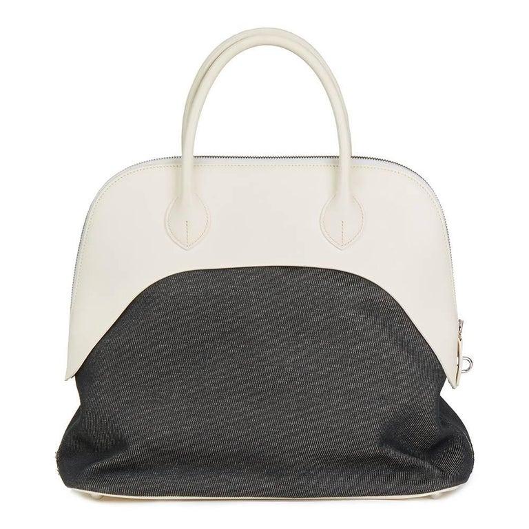 Hermes White Swift Leather and Black Denim Bolide 35cm Bag, 2013  In Good Condition For Sale In Bishop's Stortford, Hertfordshire