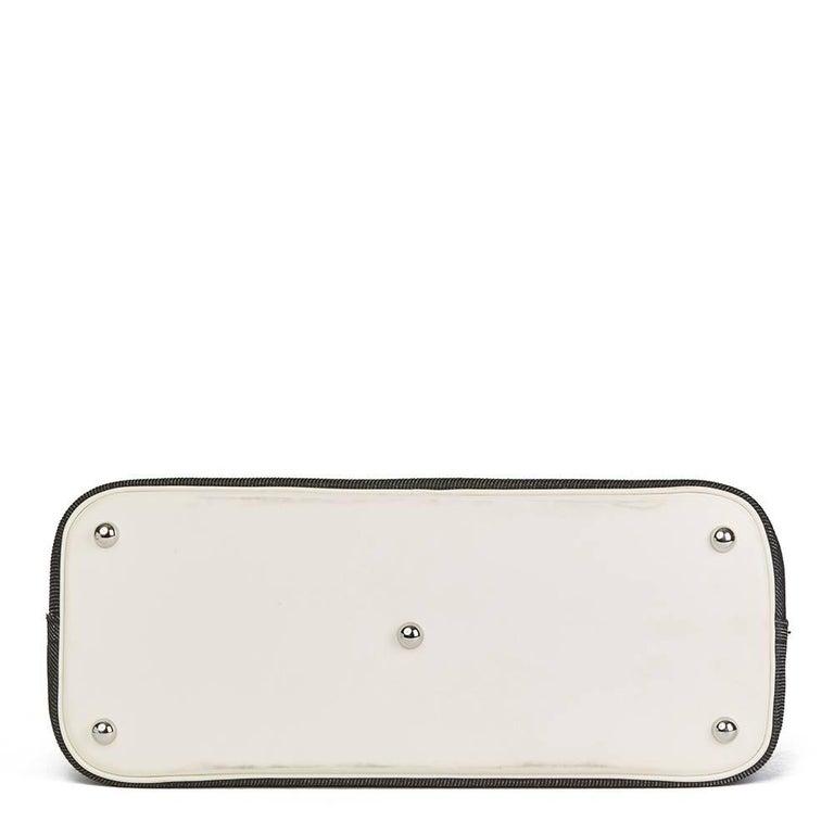 Women's Hermes White Swift Leather and Black Denim Bolide 35cm Bag, 2013  For Sale
