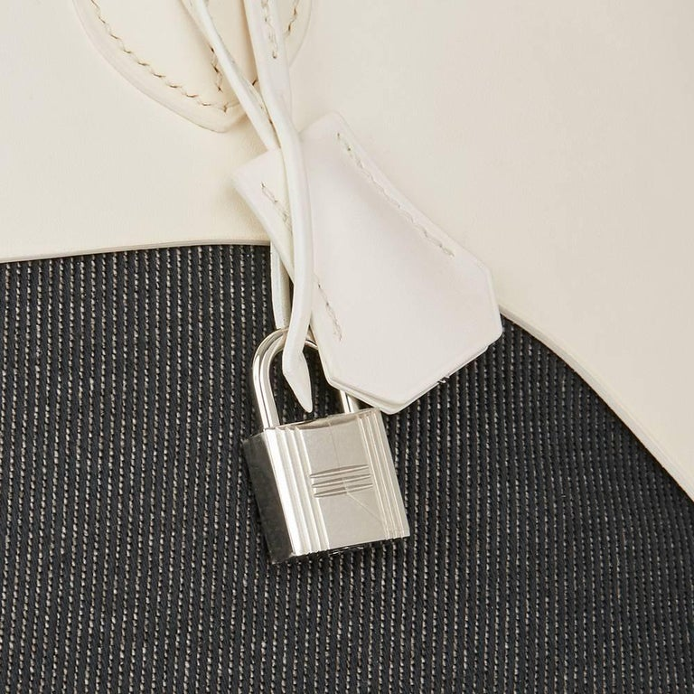 Hermes White Swift Leather and Black Denim Bolide 35cm Bag, 2013  For Sale 1