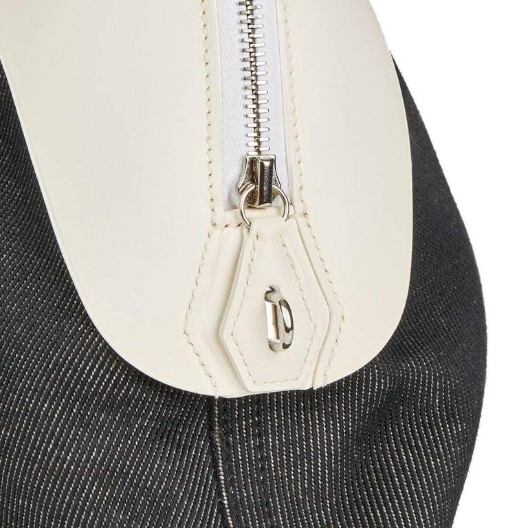 Hermes White Swift Leather and Black Denim Bolide 35cm Bag, 2013  For Sale 2