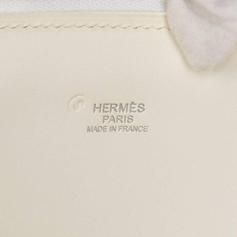 Hermes White Swift Leather and Black Denim Bolide 35cm Bag, 2013  For Sale 3