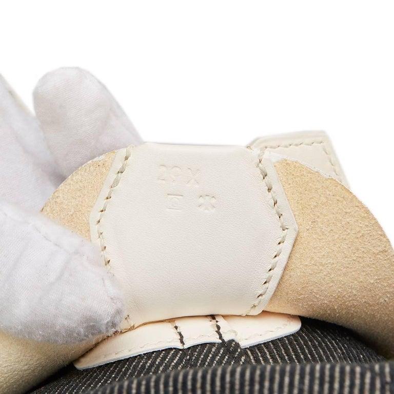 Hermes White Swift Leather and Black Denim Bolide 35cm Bag, 2013  For Sale 4