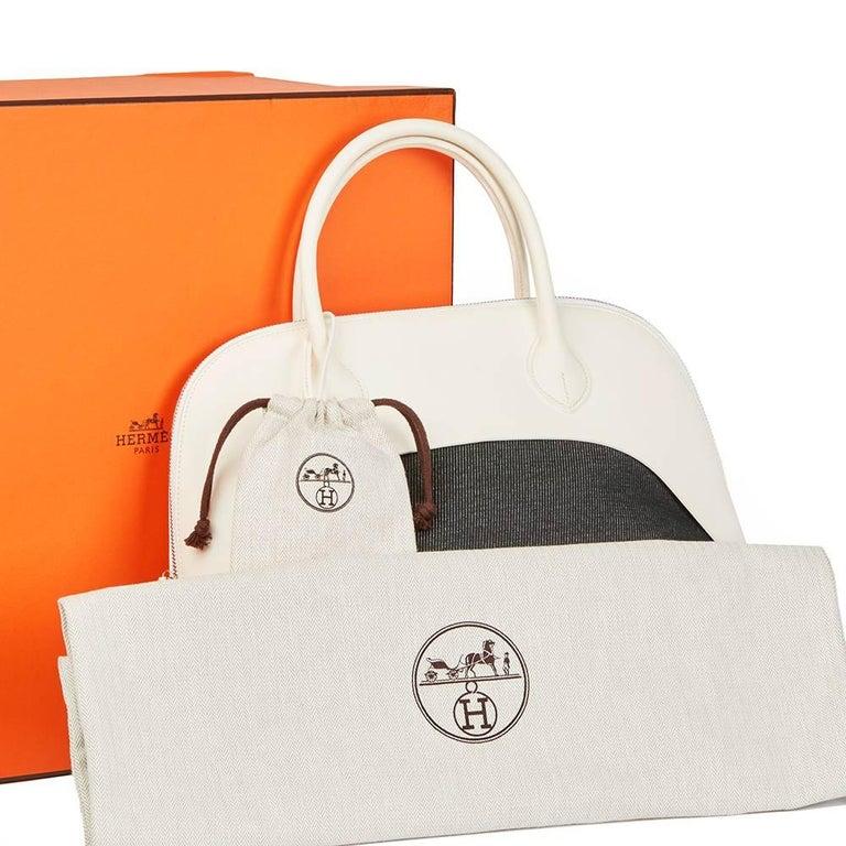 Hermes White Swift Leather and Black Denim Bolide 35cm Bag, 2013  For Sale 5