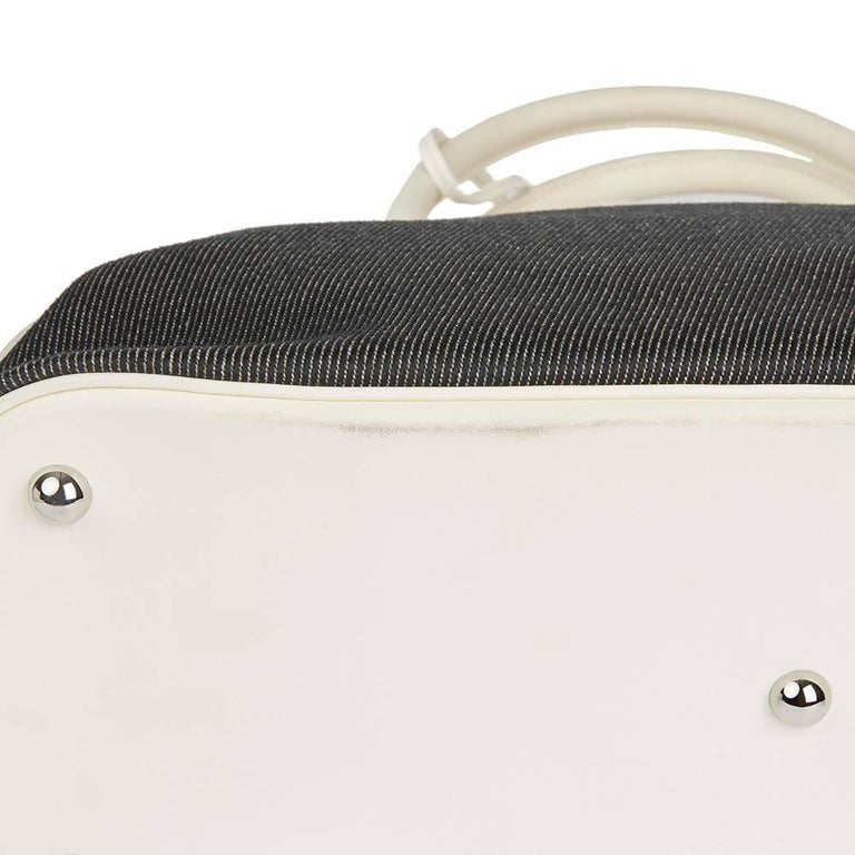 Hermes White Swift Leather and Black Denim Bolide 35cm Bag, 2013  For Sale 6