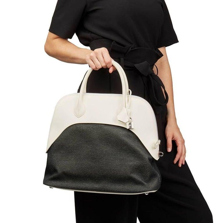 Hermes White Swift Leather and Black Denim Bolide 35cm Bag, 2013  For Sale 7