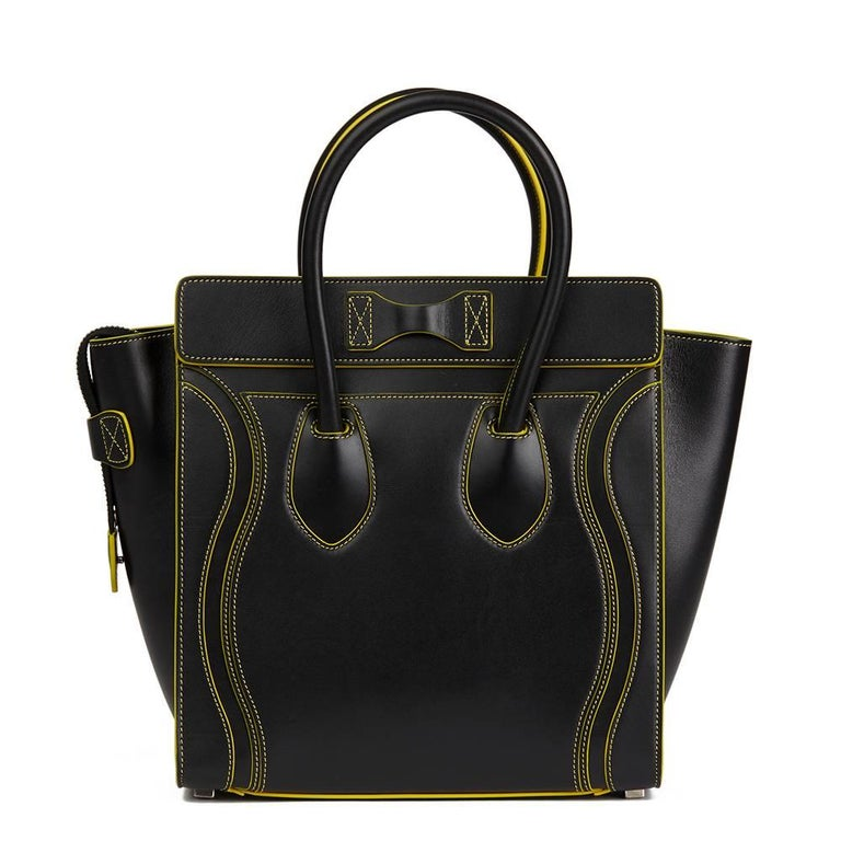 2016 Celine Black Smooth Calfskin Leather Debossed Micro Luggage Tote  In Excellent Condition For Sale In Bishop's Stortford, Hertfordshire