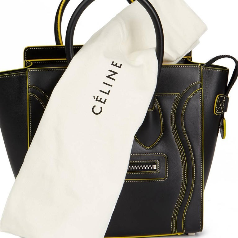 2016 Celine Black Smooth Calfskin Leather Debossed Micro Luggage Tote  For Sale 5