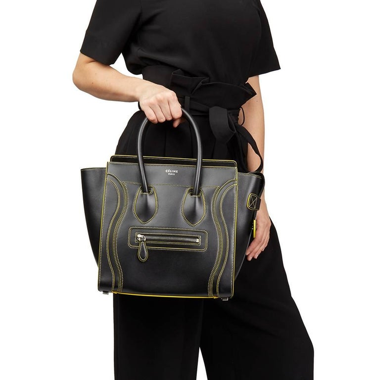 d8389f9a3e9 2016 Celine Black Smooth Calfskin Leather Debossed Micro Luggage Tote For  Sale 6