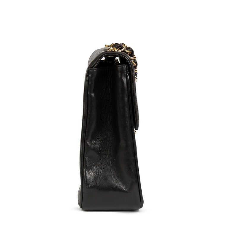 e3fc52abaa77fa CHANEL Black Vertical Quilted Lambskin Vintage Jumbo XL Flap Bag Xupes  Reference: HB1952 Serial Number