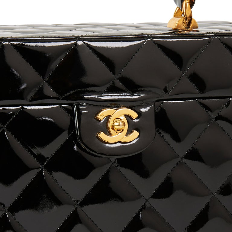 Chanel Black Patent Leather Vintage Classic Vanity Case, 1994  For Sale 1