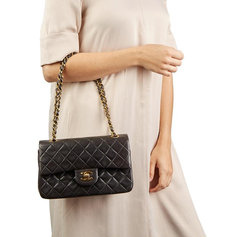 e140b210e0878 1994 Chanel Black Quilted Lambskin Vintage Small Classic Double Flap Bag  For Sale 6
