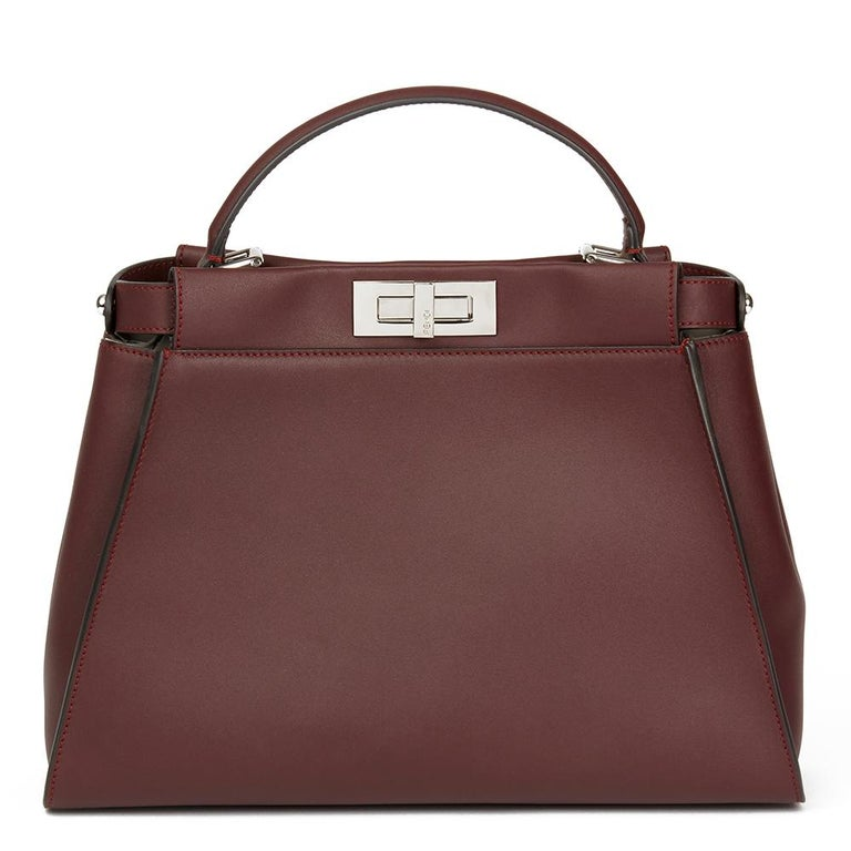 a10fb5ee4381 Brown 2018 Fendi Burgundy Calfskin Leather Regular Peekaboo with Flowers  For Sale
