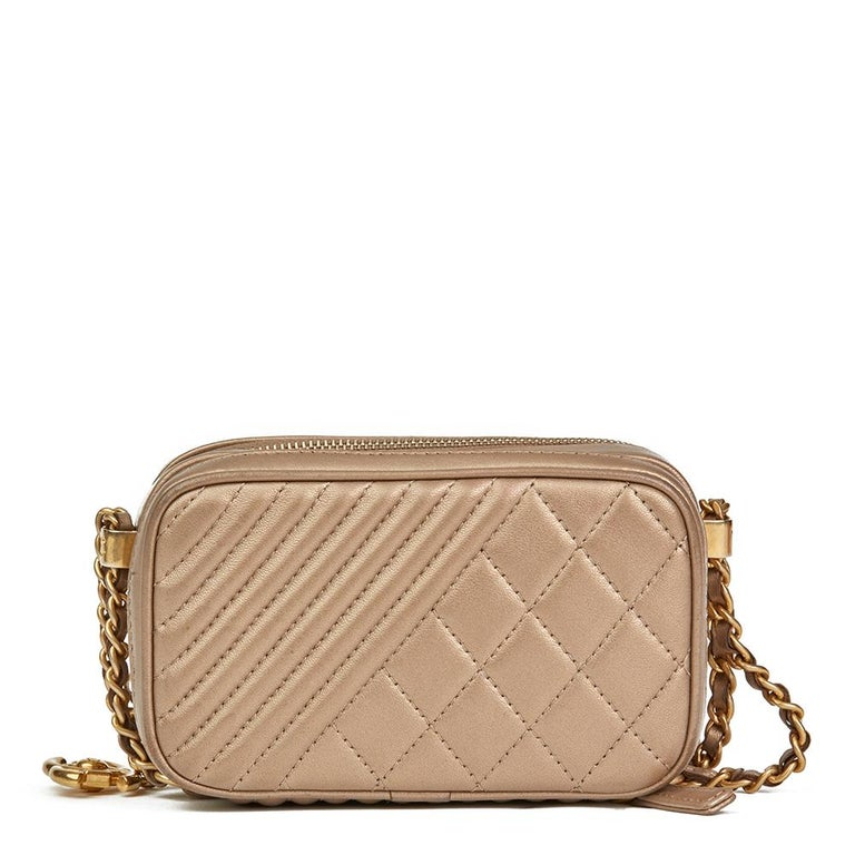 Brown 2015 Chanel Bronze Quilted Lambskin Small Coco Boy Camera Case