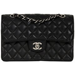2000s Chanel Black Quilted Caviar Leather Small Classic Double Flap Bag