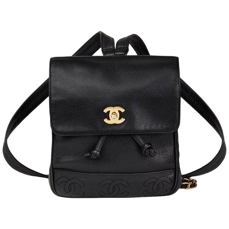 5f9bc387176630 Chanel 1990s Chanel Black Caviar Leather Vintage Timeless Backpack For Sale