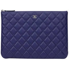 2016 Chanel Blue Quilted Lambskin Medium O Case