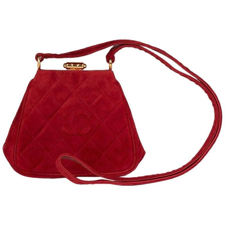 1993 Chanel Red Quilted Velvet Timeless Frame Bag