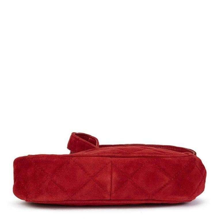 1993 Chanel Red Quilted Velvet Timeless Frame Bag  In Good Condition For Sale In Bishop's Stortford, Hertfordshire