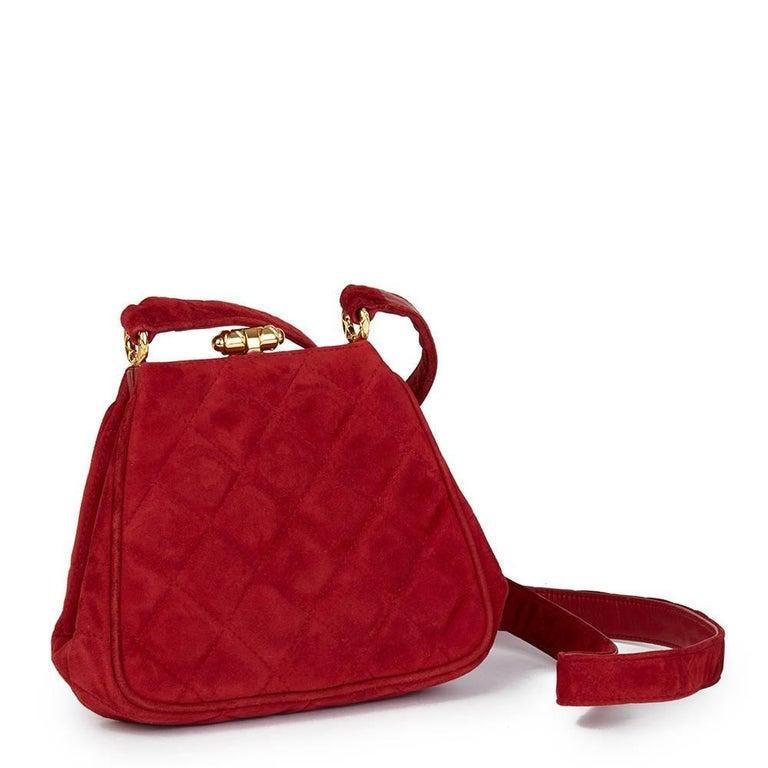 Women's 1993 Chanel Red Quilted Velvet Timeless Frame Bag  For Sale