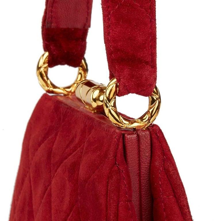 1993 Chanel Red Quilted Velvet Timeless Frame Bag  For Sale 1