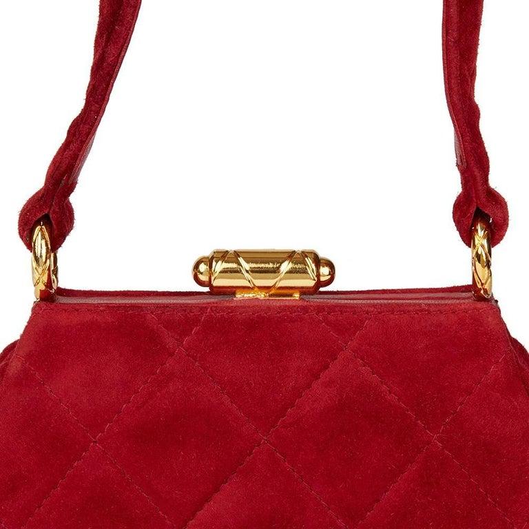 1993 Chanel Red Quilted Velvet Timeless Frame Bag  For Sale 2