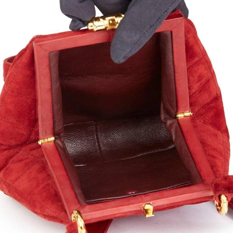 1993 Chanel Red Quilted Velvet Timeless Frame Bag  For Sale 4