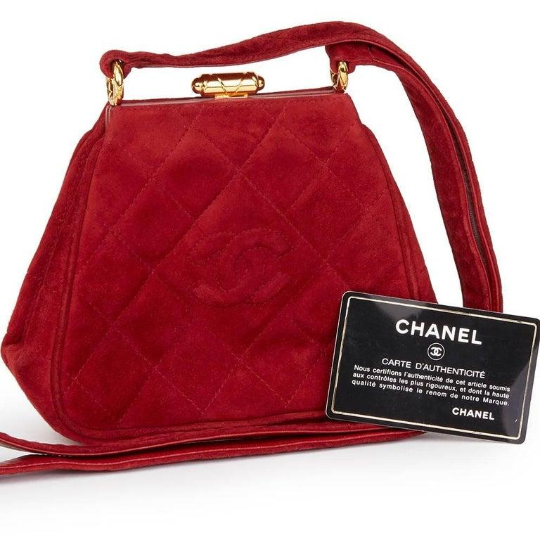1993 Chanel Red Quilted Velvet Timeless Frame Bag  For Sale 5