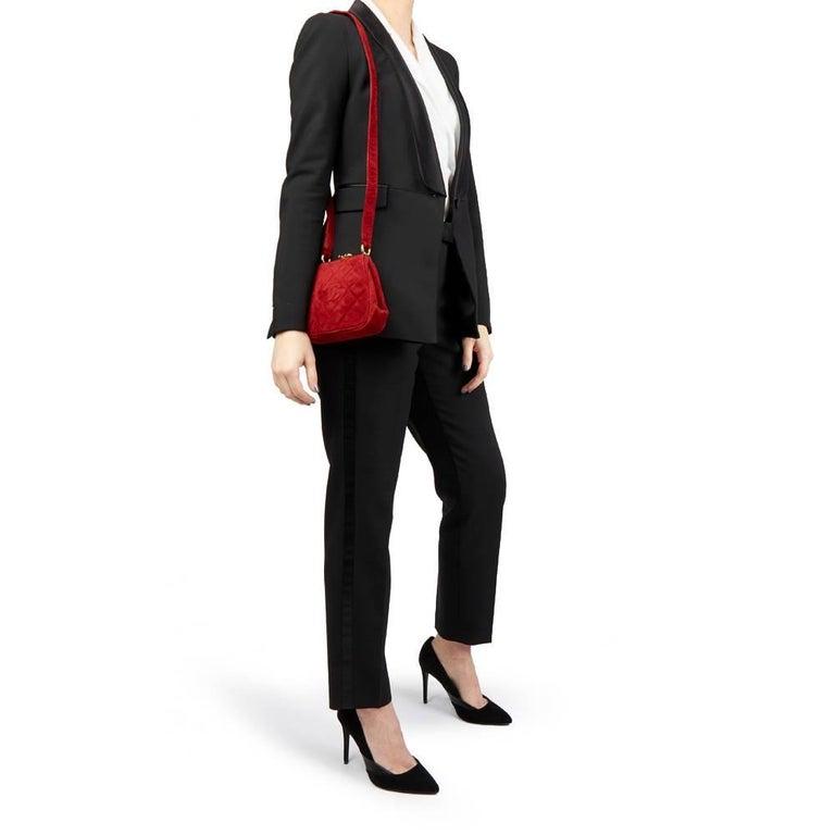 1993 Chanel Red Quilted Velvet Timeless Frame Bag  For Sale 6