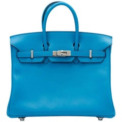 Hermes Blue Zanzibar Swift Leather Birkin 25cm Bag, 2017