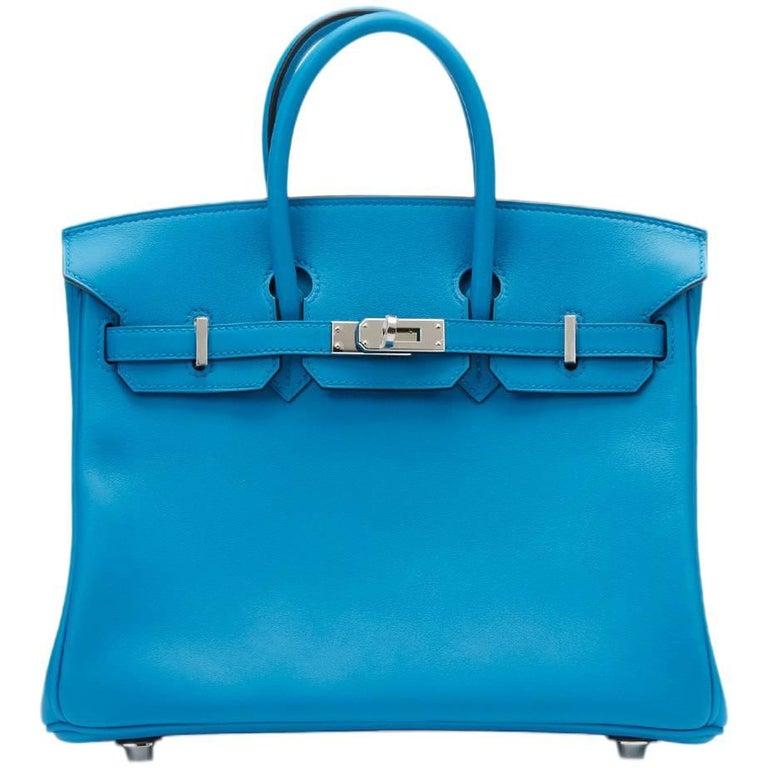 Hermes Blue Zanzibar Swift Leather Birkin 25cm Bag, 2017