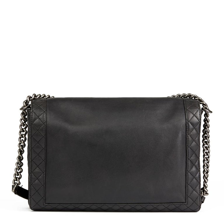 2014 Chanel Black Quilted Lambskin XL Le Boy Reverso  In Good Condition For Sale In Bishop's Stortford, Hertfordshire