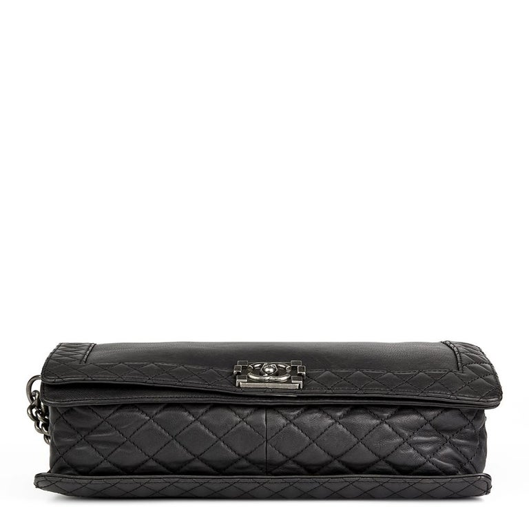 Women's 2014 Chanel Black Quilted Lambskin XL Le Boy Reverso  For Sale