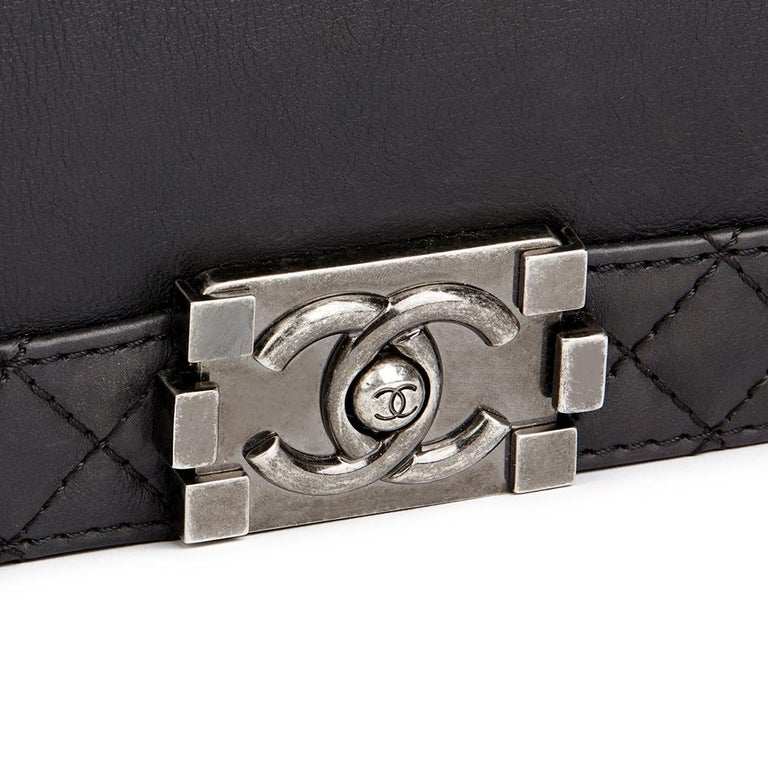 2014 Chanel Black Quilted Lambskin XL Le Boy Reverso  For Sale 1