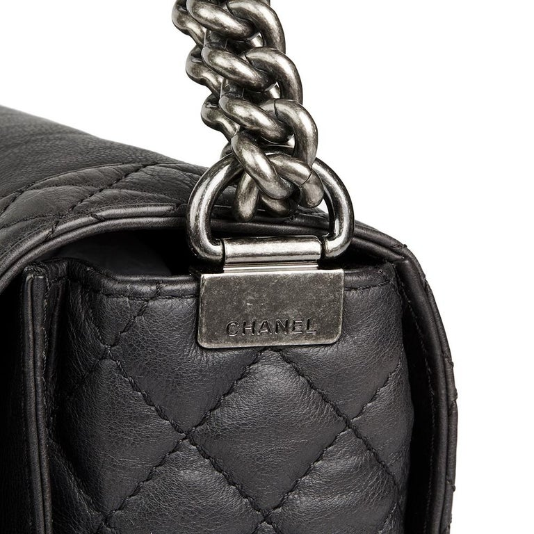 2014 Chanel Black Quilted Lambskin XL Le Boy Reverso  For Sale 2