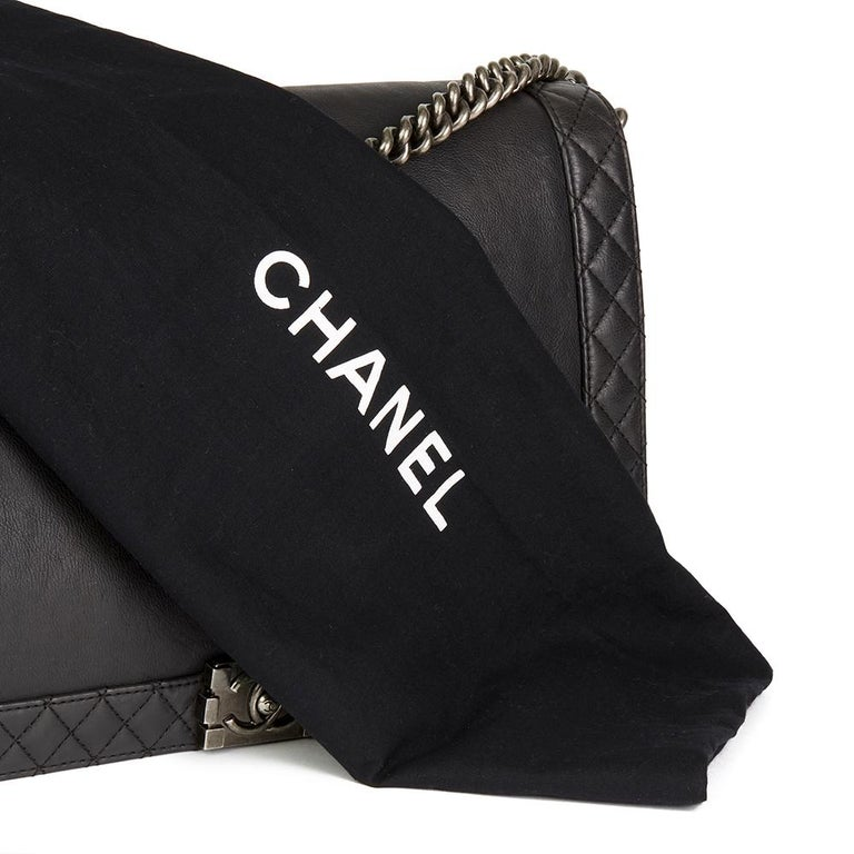 2014 Chanel Black Quilted Lambskin XL Le Boy Reverso  For Sale 5